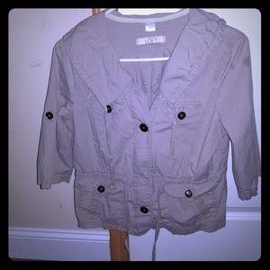 Anne Taylor loft kahki utility Jacket med petite